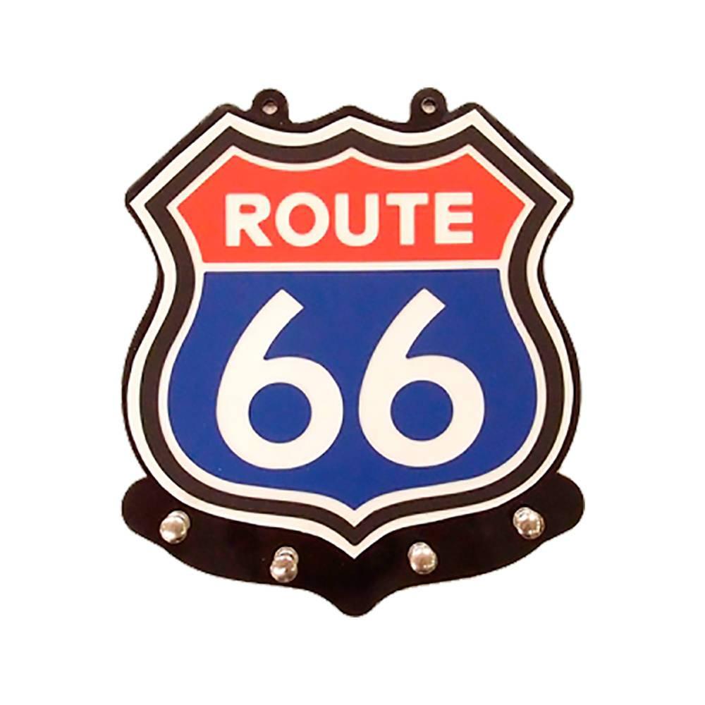 Porta-Chaves Route 66 Multicolorido com 4 Ganchos em MDF - 22x20 cm