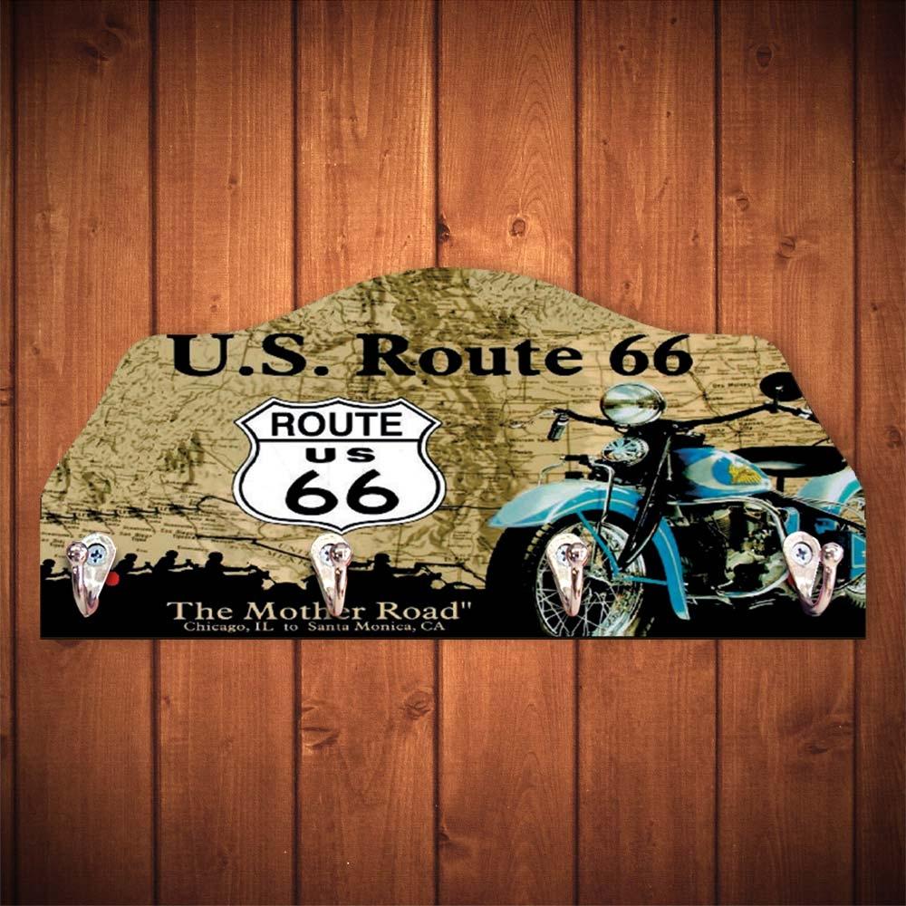 Porta-Chaves Route 66 Verde - 4 Ganchos - em MDF - 29x12 cm