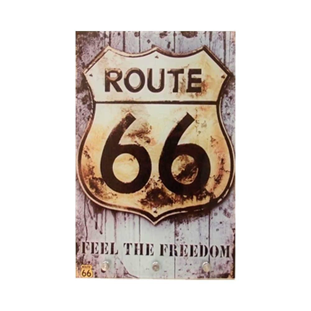 Porta-Chaves Route 66 Vintage Fundo Imitando Madeira com 3 Ganchos em Vidro - 30x20 cm