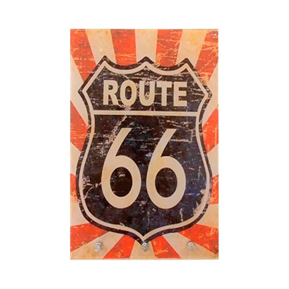 Porta-Chaves Route 66 Vintage Vermelho com 3 Ganchos em Vidro - 30x20 cm