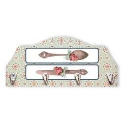 Porta-Chaves Talheres Floral - 4 Pinos - em MDF - 29x13 cm