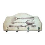 Porta-Chaves Talheres em Madeira - 4 Ganchos - 29x12 cm