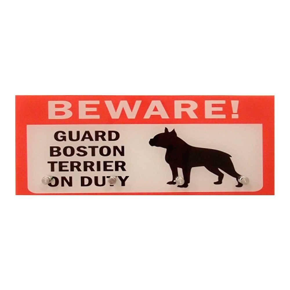 Porta-Chaves Terrier Boston com 4 Ganchos em Vidro - 30x12 cm