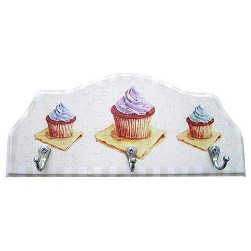 Porta-Chaves Três Cupcakes em Madeira - 3 Ganchos - 29x12 cm
