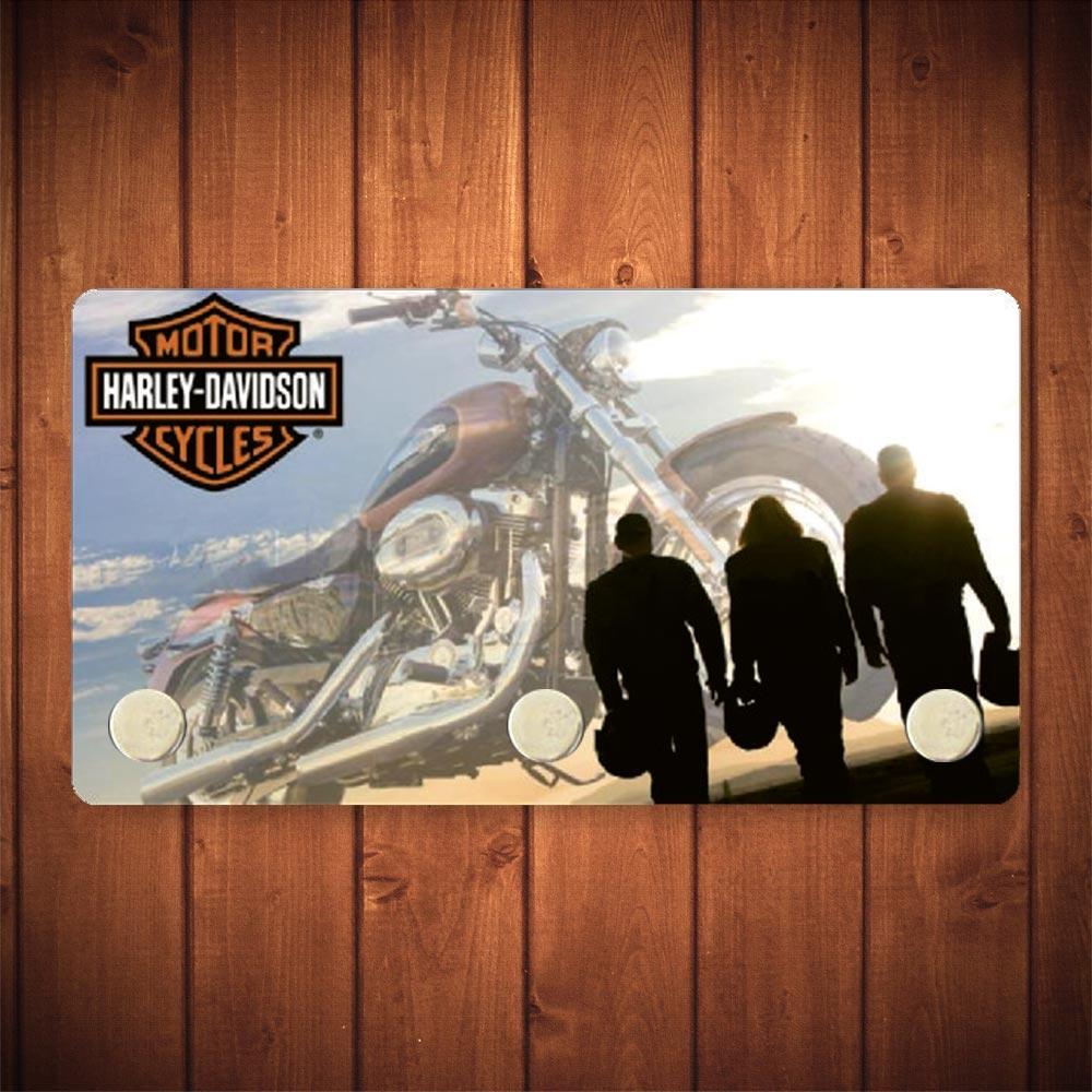 Porta-Chaves Trio Motoqueiros Harley Davidson - 3 Ganchos - em Metal - 14,5x8 cm