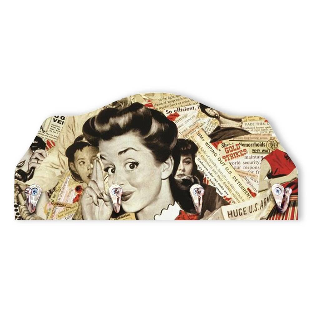 Porta-Chaves Vintage Girl - 4 Pinos - em MDF - 29x13 cm