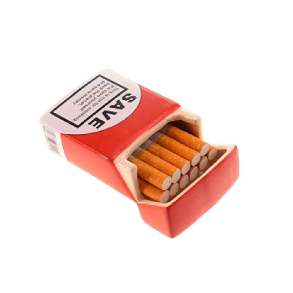 Porta-Cigarros Save Vermelho e Branco em Cerâmica - 10x6 cm