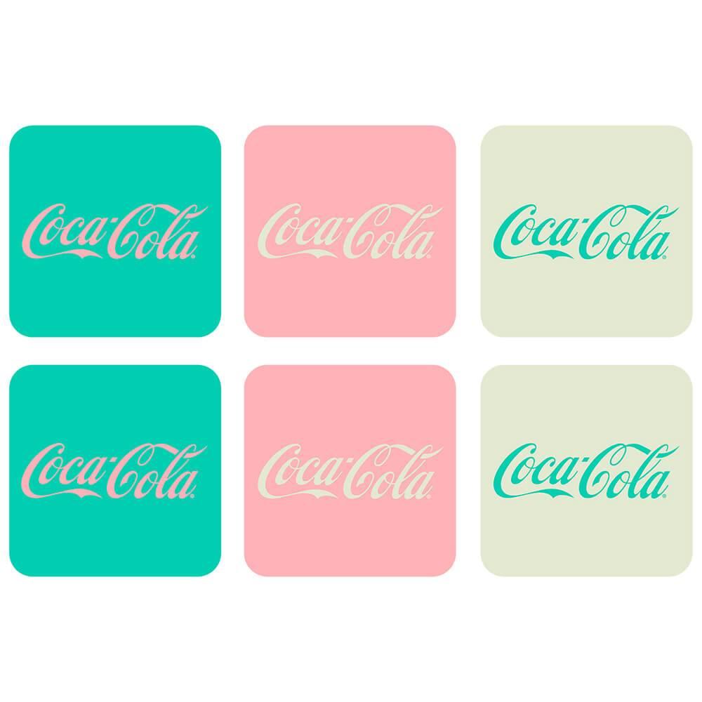 Porta-Copos 6 Peças Coca-Cola Contemporary Green em MDF - Urban - 10x10 cm