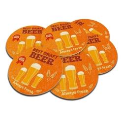 Porta-Copos Beer Laranja Redondo - 6 Peças - em Cortiça