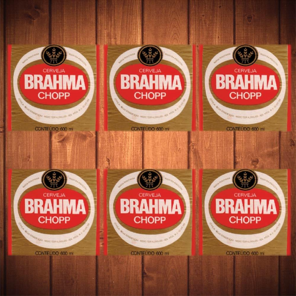 Porta-Copos Brahma Chopp Fundo Bege - 6 Peças - em Vidro - 8,5x8,5 cm