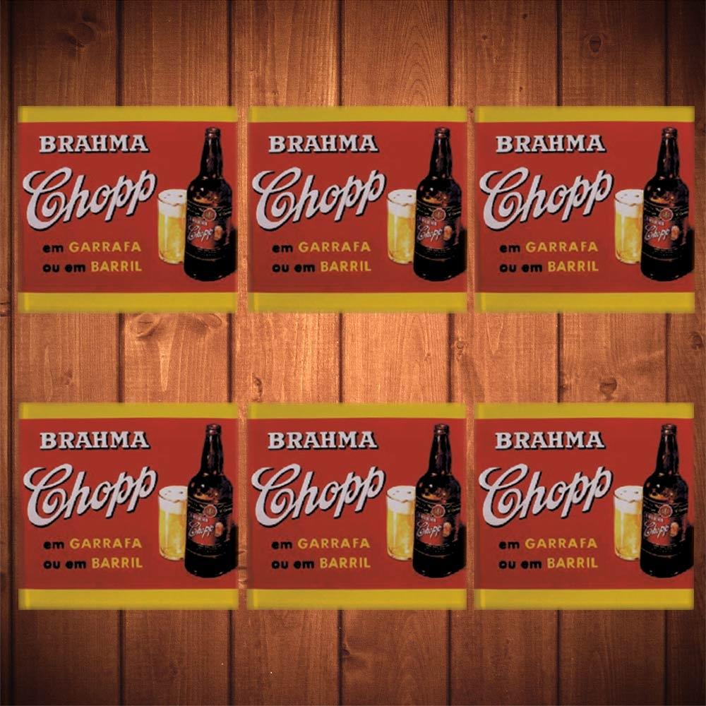 Porta-Copos Brahma Chopp Vermelho - 6 Peças - em Vidro - 8,5x8,5 cm