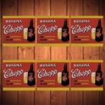 Porta-Copos Brahma Chopp Vermelho - 6 Peças - em Vidro