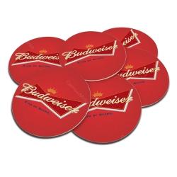 Porta-Copos Budweiser Logo Vermelho - 6 Peças - em Cortiça