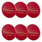 Porta-Copos Budweiser Vermelhos - 6 Peças - em MDF - 10 cm