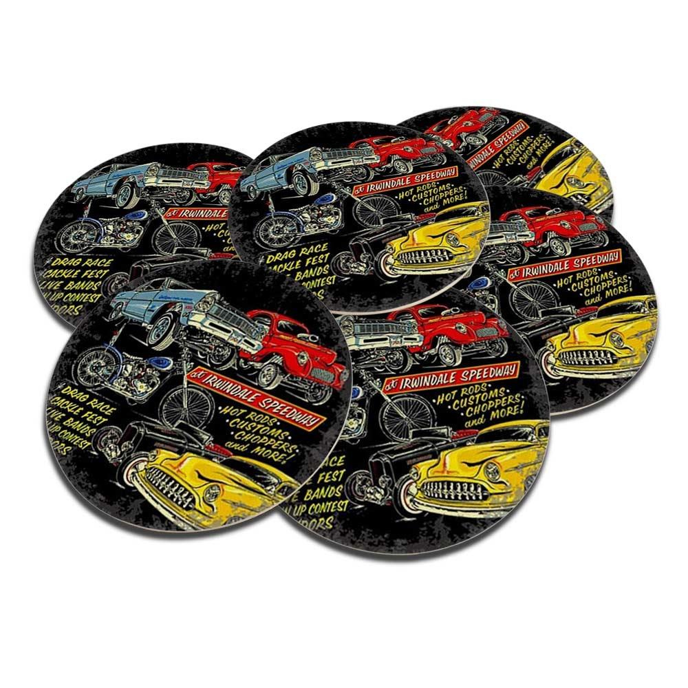 Porta-Copos Carros Vintage - 6 Peças - em Cortiça - 9,7 cm