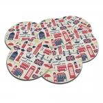 Porta-Copos Carry On - London Vermelho/Azul - em Cortiça - 9,7 cm