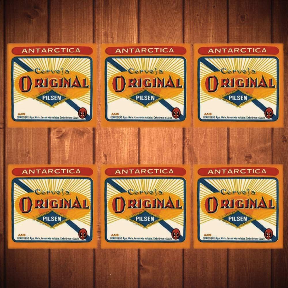 Porta-Copos Cerveja Antarctica Pilsen Amarelo - 6 Peças - em Vidro - 8,5x8,5 cm