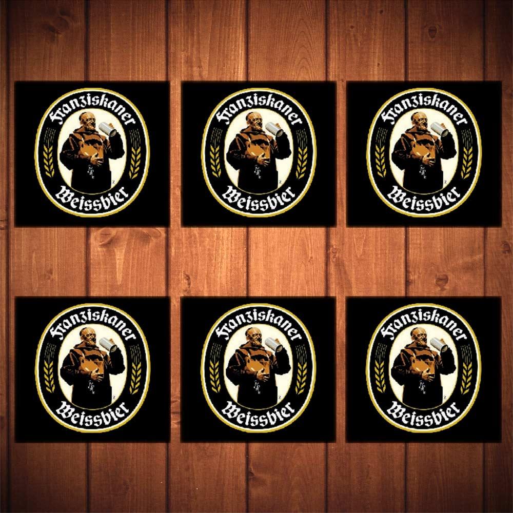 Porta-Copos Cerveja Franziskaner Preto - 6 Peças - em Vidro - 8,5x8,5 cm