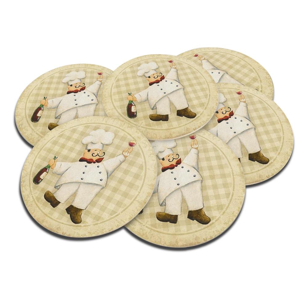 Porta-Copos Chef de Cozinha com Vinho - 6 Peças - em Cortiça - 9,7 cm