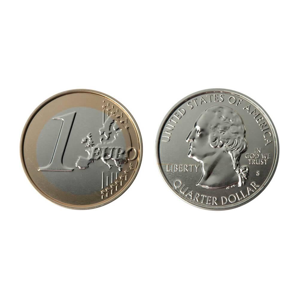 Porta-Copos Coins Euro Ans US 2 Peças em Silicone - Urban - 9 cm