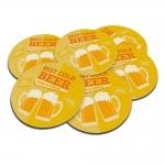 Porta-Copos Cold Beer Amarelo - 6 Peças - em Cortiça - 9,7 cm