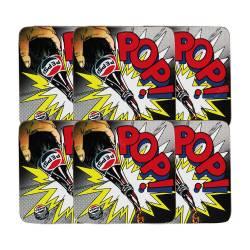 Porta-Copos Comics Multicolorido - 6 Peças - em MDF - Pepsi