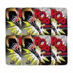 Porta-Copos Comics Multicolorido - 6 Peças - em MDF - Pepsi - 10,5x10,5 cm