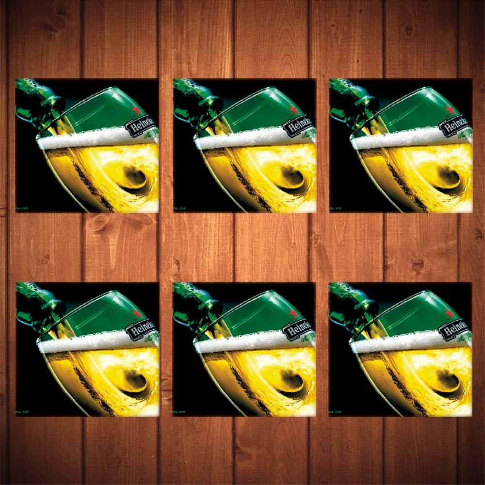 Porta-Copos Copo de Cerveja Heineken Verde - 6 Peças - em Vidro - 8,5x8,5 cm
