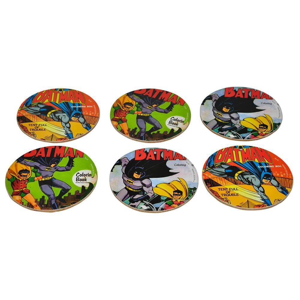 Porta-Copos DC Comics Batman and Robin Actions 6 Peças em MDF - Urban - 10x10 cm