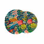 Porta-Copos DC Comics Super Heroes - 6 Peças - Fundo Azul em MDF - 10 cm