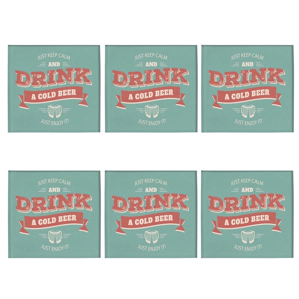 Porta-Copos Drink Beer - 6 Peças - em Vidro - 8,5x8,5 cm
