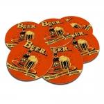 Porta-Copos Duff Beer Laranja - 6 Peças - em Cortiça - 9,7 cm