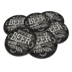 Porta-Copos Good Beer Preto/Branco - 6 Peças - em Cortiça