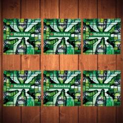Porta-Copos Hei Hei Heineken Beer Verde - 6 Peças - em Vidro