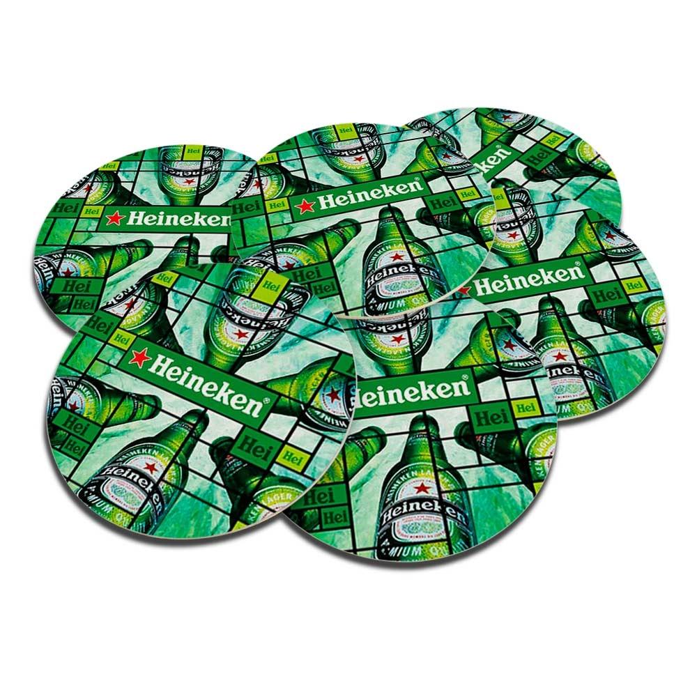 Porta-Copos Hei Heineken Verde - 6 Peças - em Cortiça - 9,7 cm