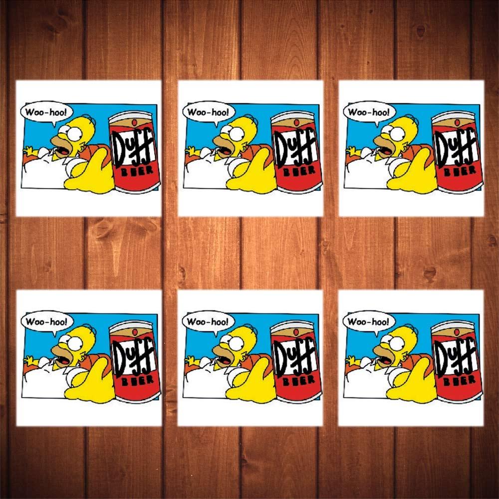 Porta-Copos Homer e Lata de Duff - 6 Peças - em Vidro - 8,5x8,5 cm
