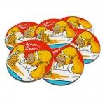 Porta-Copos Homer Simpson Tomando Chopp - 6 Peças - em Cortiça - 9,7 cm