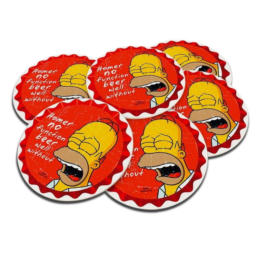 Porta-Copos Homer Simpson Triste - 6 Peças - em Cortiça - 9,7 cm