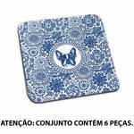 Porta-Copos Indigo Bulldog Face Azul 6 Peças em MDF - Urban - 10x10 cm