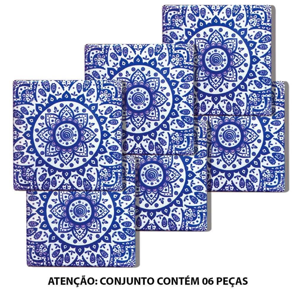 Porta-Copos Indigo Portuguese Tile Azul 6 Peças em Cerâmica - Urban - 10x10 cm