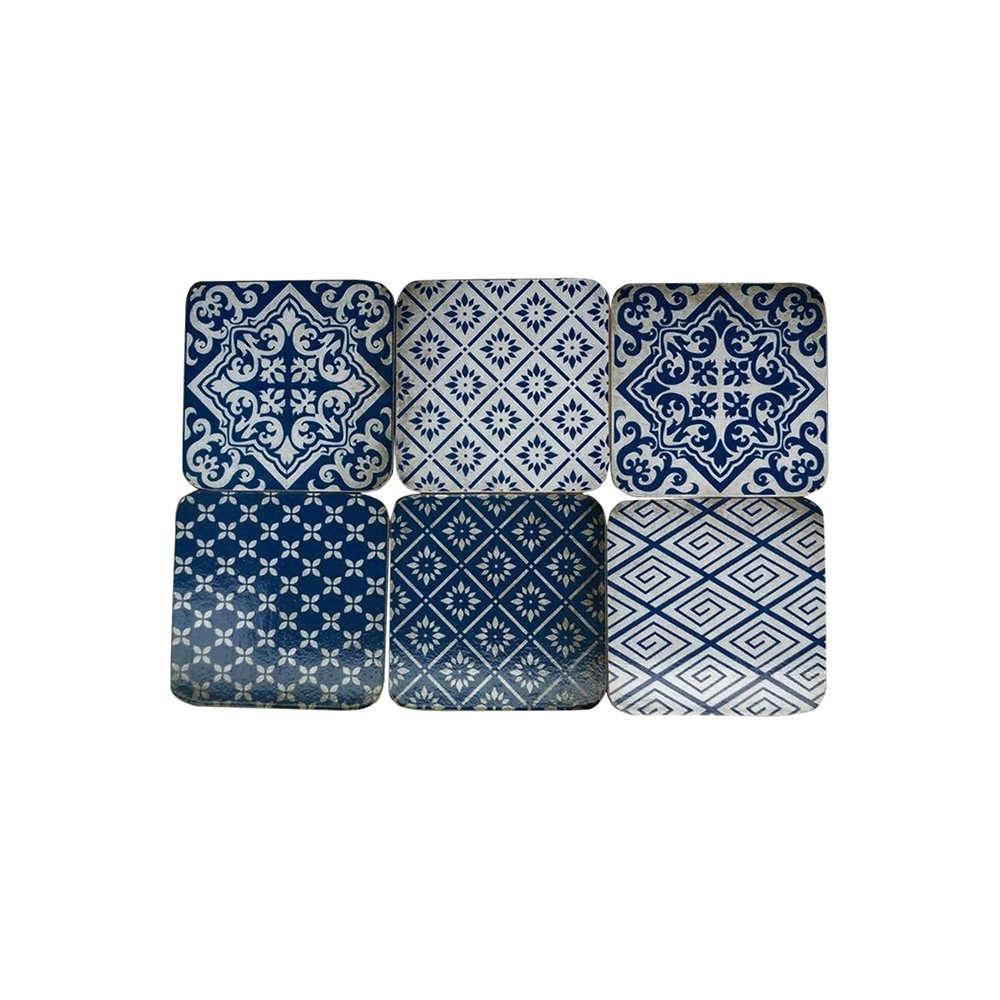 Porta-Copos Índigo Portuguese Tile Mix - 6 Peças - Azul e Branco em MDF - Urban - 10x10 cm