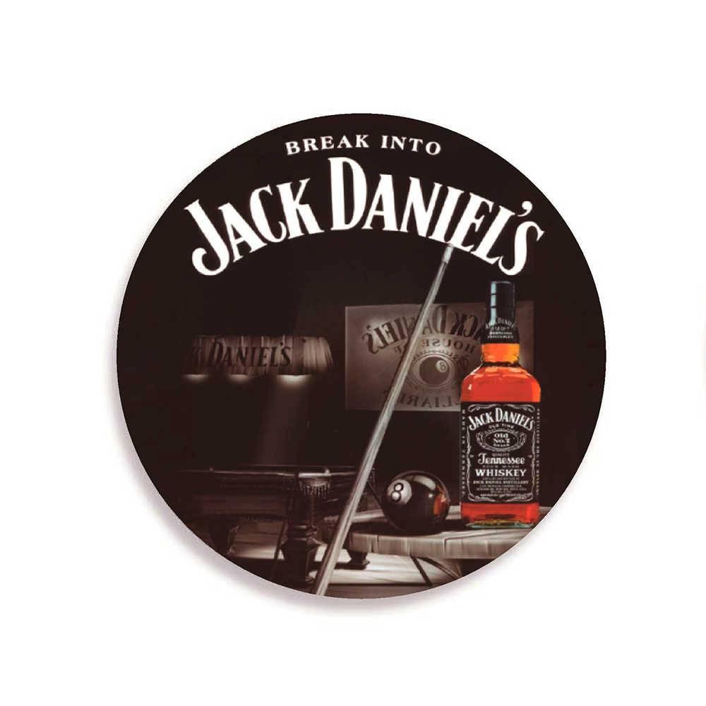 Porta-Copos Jack Daniels Sinuca Preto - 6 Peças - em Cortiça - 9,7 cm