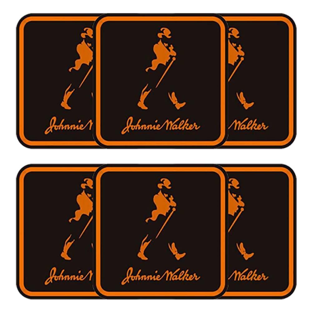 Porta-Copos Johnnie Walker Pretos - 6 Peças - em MDF - 10x10 cm