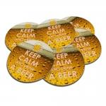 Porta-Copos Keep Calm And Drink a Beer Amarelo - 6 Peças - em Cortiça - 9,7 cm