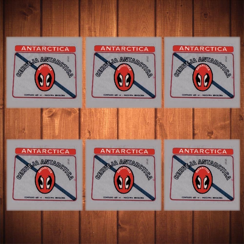 Porta-Copos Logo Cerveja Antarctica - 6 Peças - em Vidro - 8,5x8,5 cm
