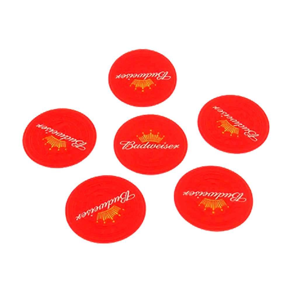 Porta-Copos Logo Cerveja Budweiser Vermelho Emborrachados - 6 Peças - 8x8 cm