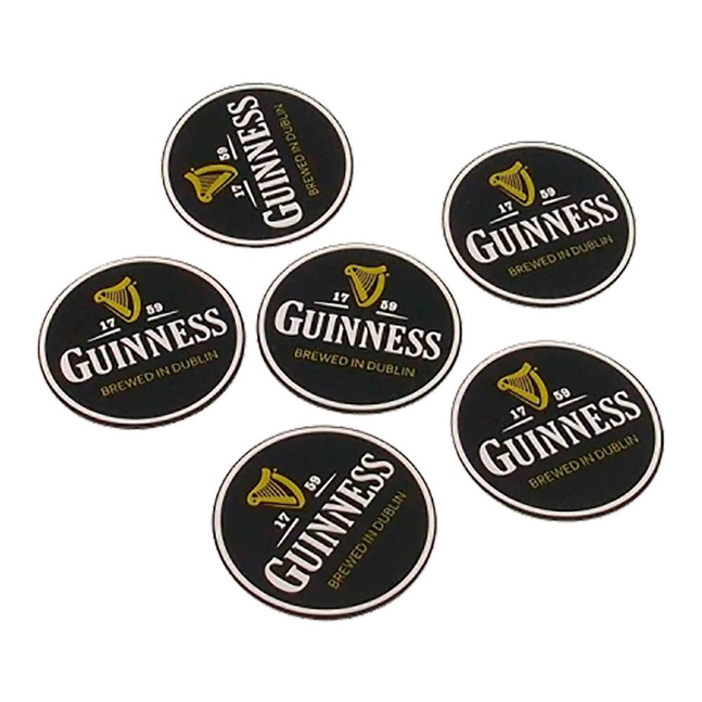 Porta-Copos Logo Cerveja Guiness Preto Emborrachados - 6 Peças - 8x8 cm