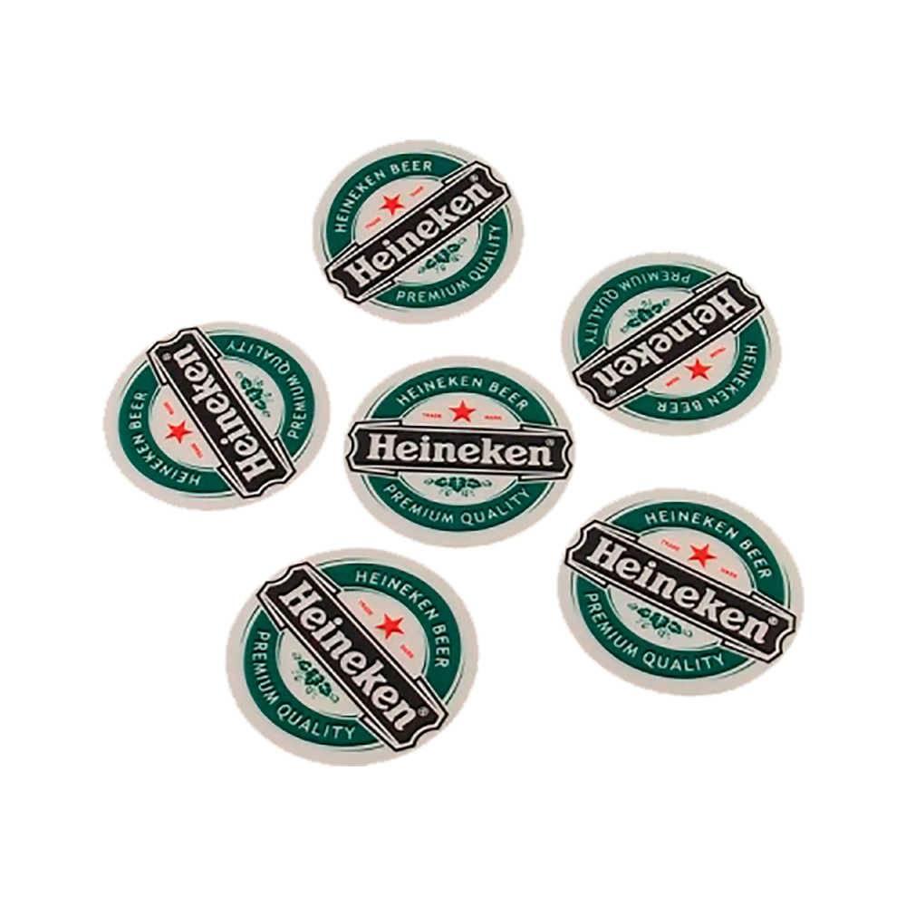 Porta-Copos Logo Cerveja Heineken - 6 Peças - Emborrachados - 8x8 cm
