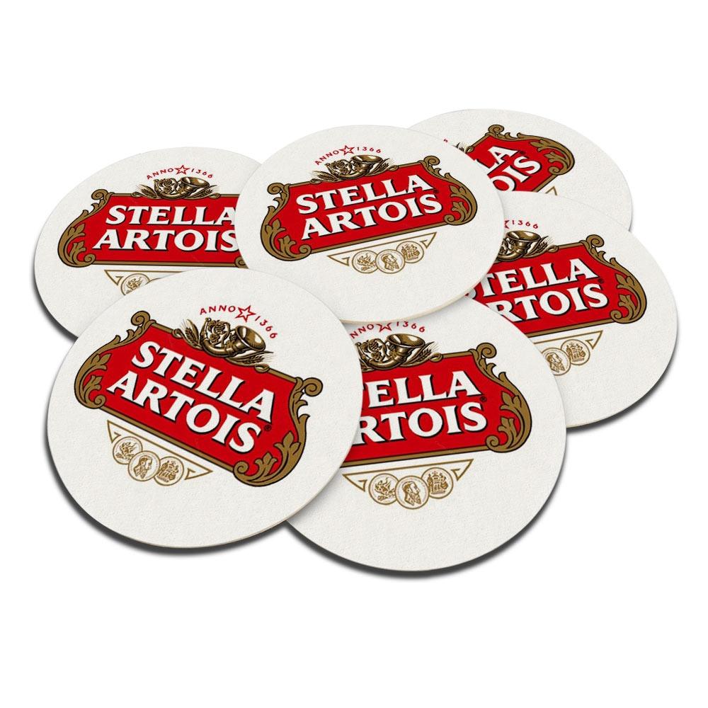 Porta-Copos Logo Cerveja Stella Artois Vermelho - 6 Peças - em Cortiça - 9,7 cm