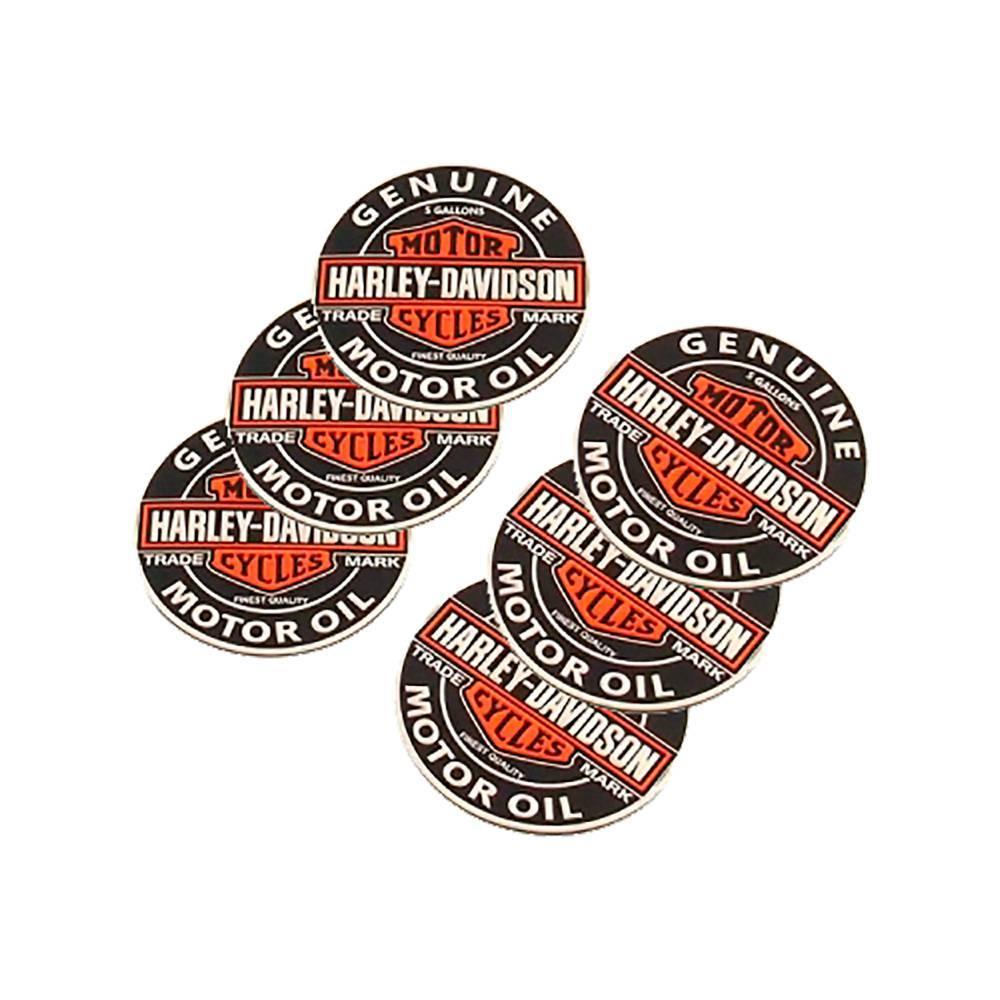 Porta-Copos Logo Harley Redondo Colorido Emborrachado - 6 Peças - 8x8 cm